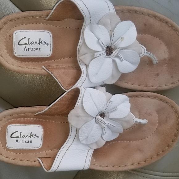 Clarks Artisan White Leather Sandals